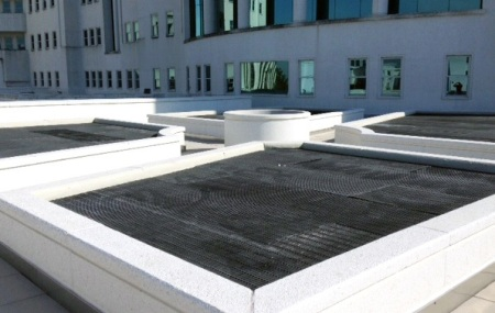 The support structures for the green roof on the Gordon Persons Building feature Strongwell materials