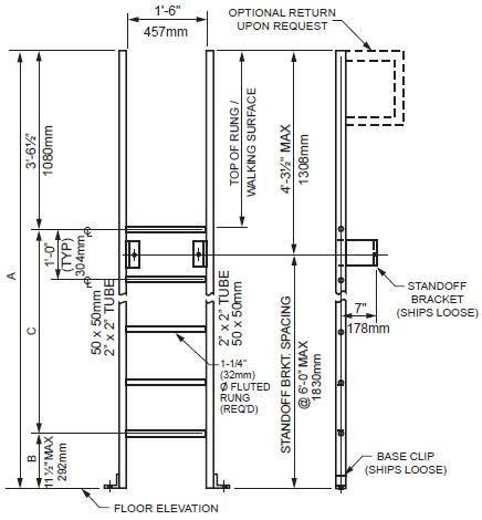 Standard Walk-Through Ladder with Base Clip