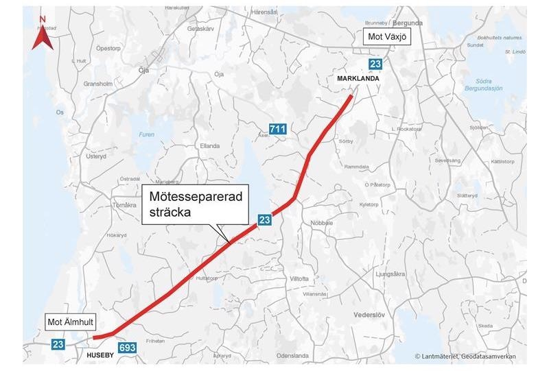 Peab Rebuilds Highway 23 Outside of Växjö